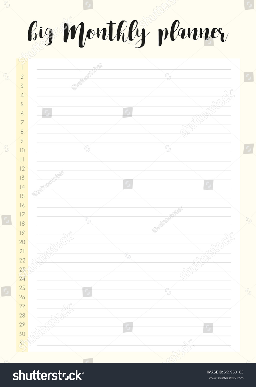 big monthly planner simple elegant template stock vector royalty