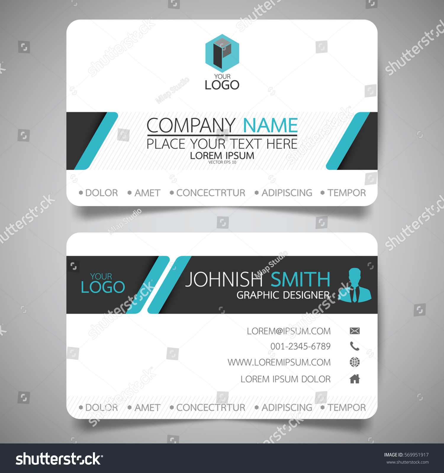 blue modern creative business card name stock vector 569951917