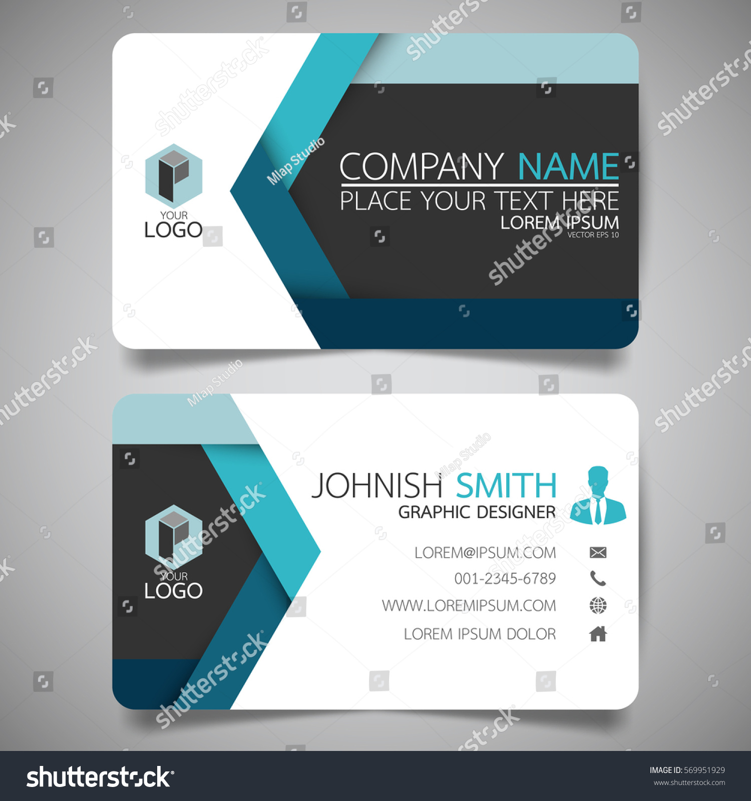 blue hexagon modern creative business card stock vector