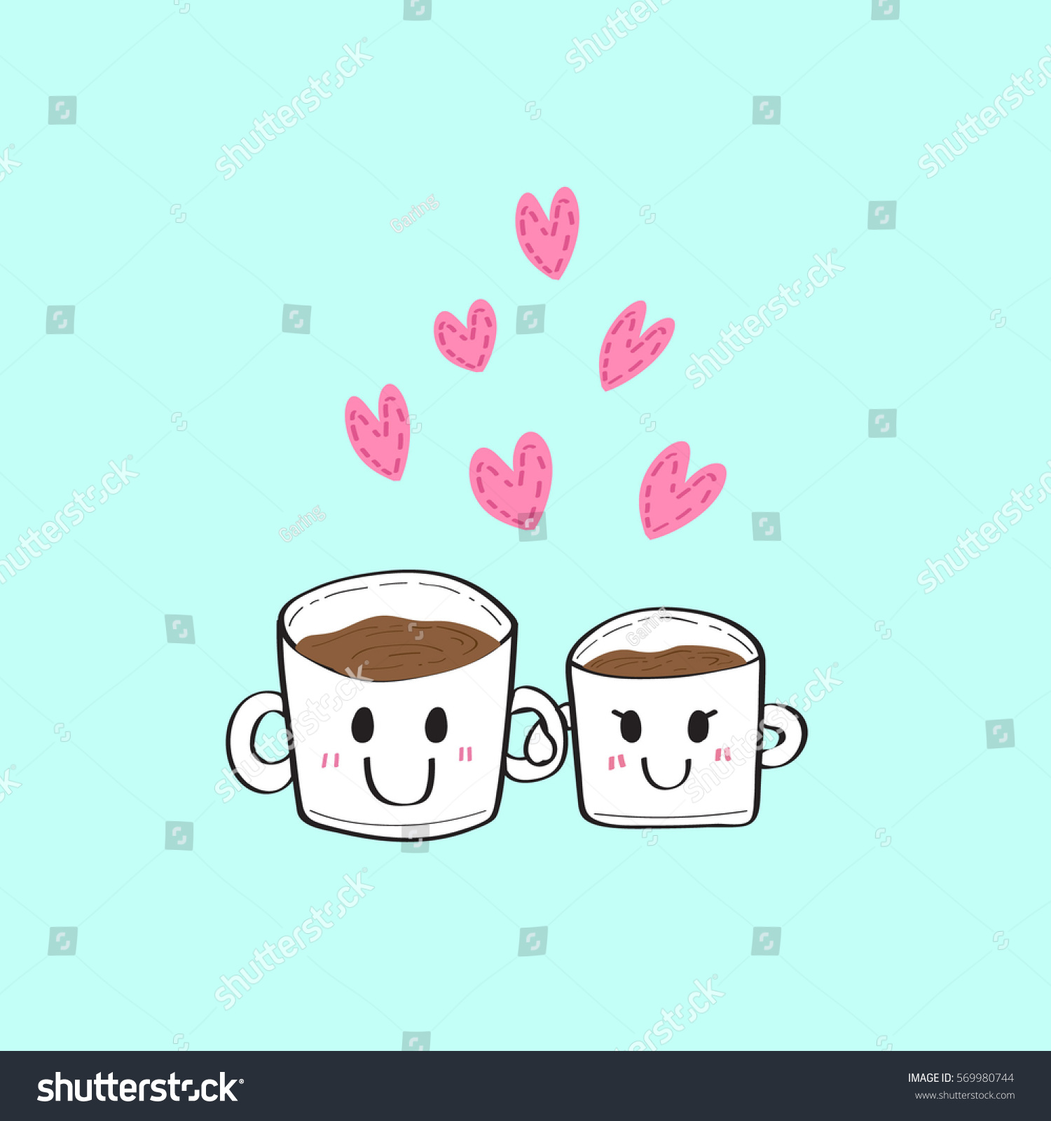 Couple Coffee Cup Hearth Illustration Valentines Dayprintable Stock ...