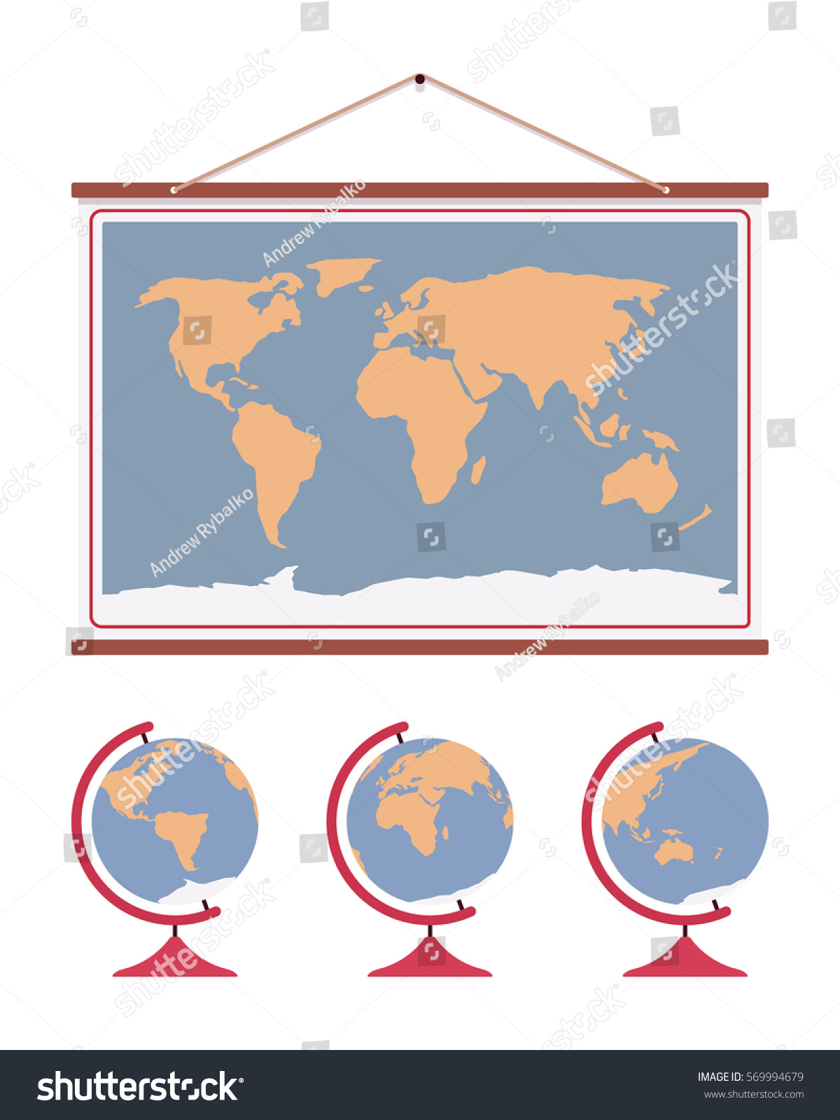 Hanging world map decoration accent office vectores en stock hanging world map decoration to accent office or home walls poster for educational purpose gumiabroncs Choice Image