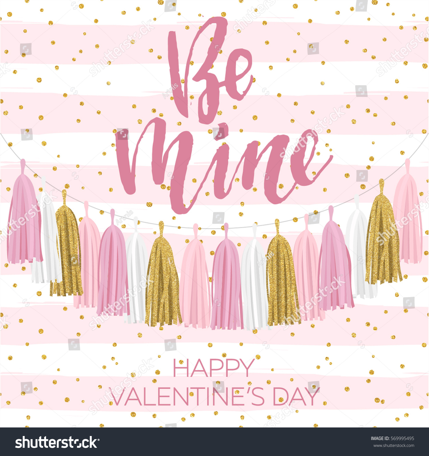 Vector bunting flags lovely celebration card with colorful paper - Lettering Valentine S Day Illustration Tissue Paper Tassel Garland Banner
