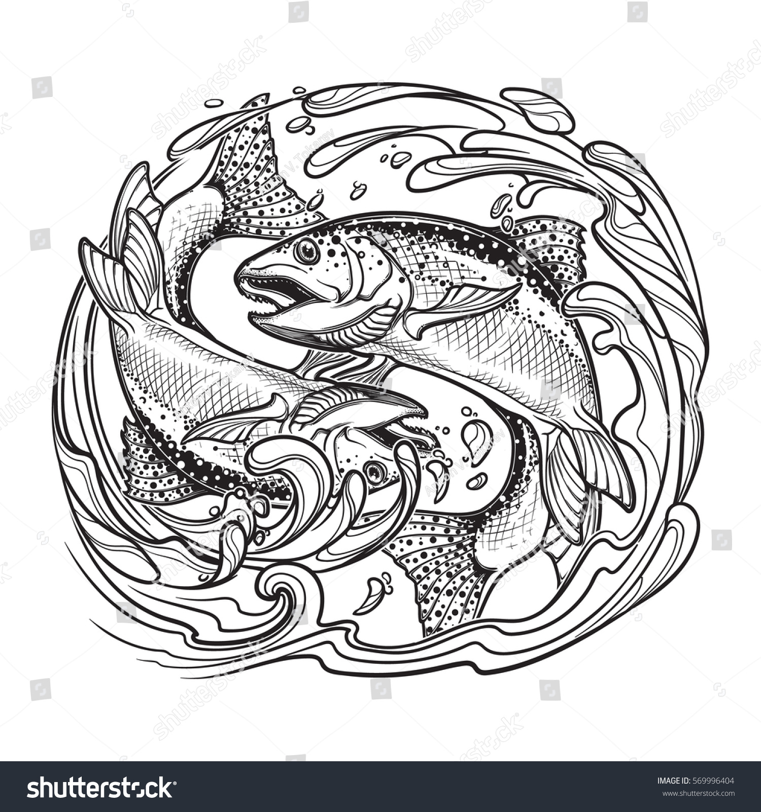 Zodiac Sign Pisces Two Fishes Jumping Stock Vector Royalty Free