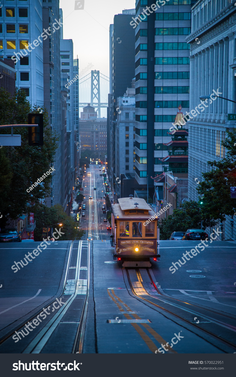 Classic Vertical View Historic Cable Car Stock Photo