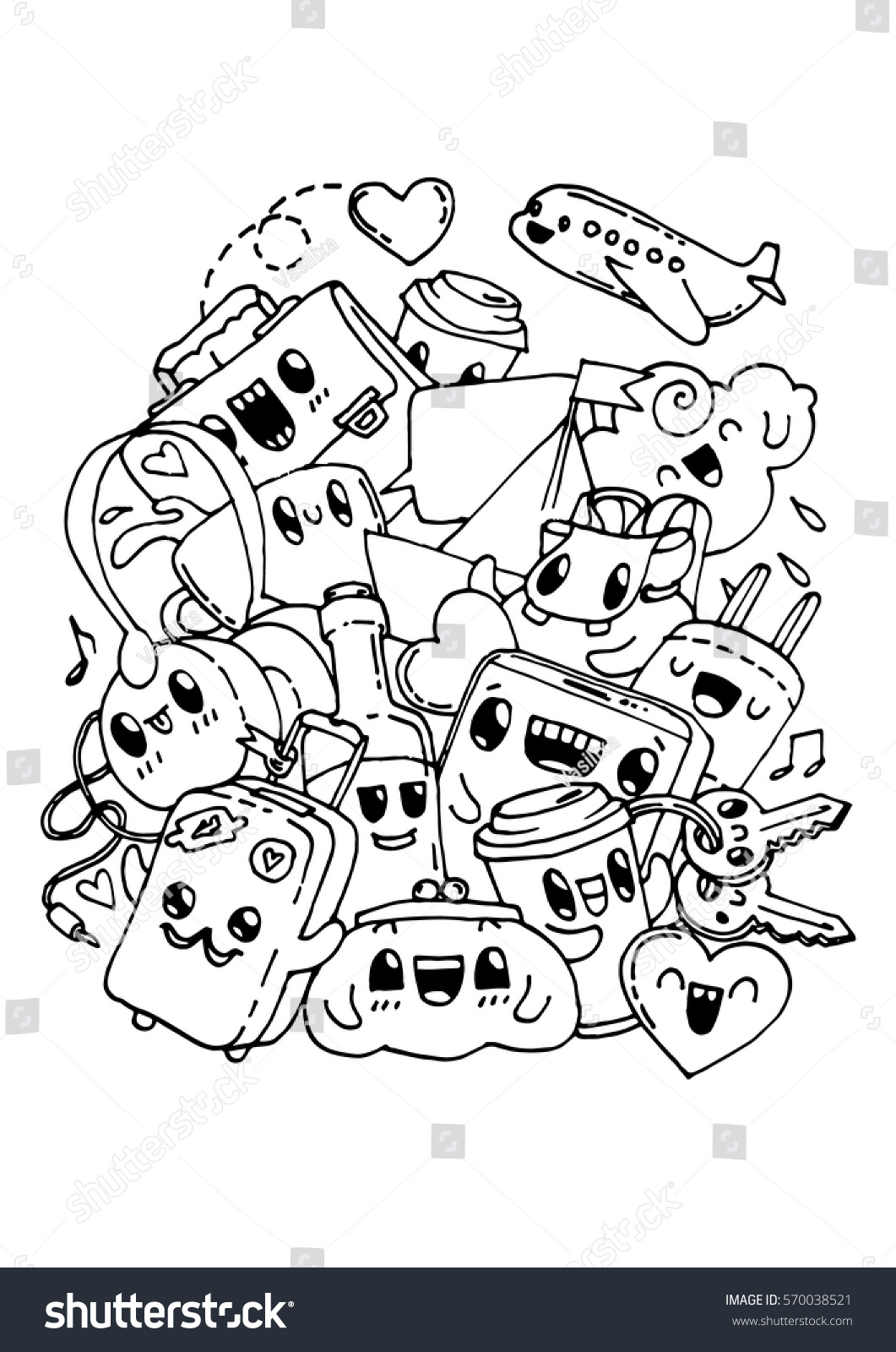 Travel Doodles Coloring Pages Kids Adult Stock Vector (Royalty Free ...