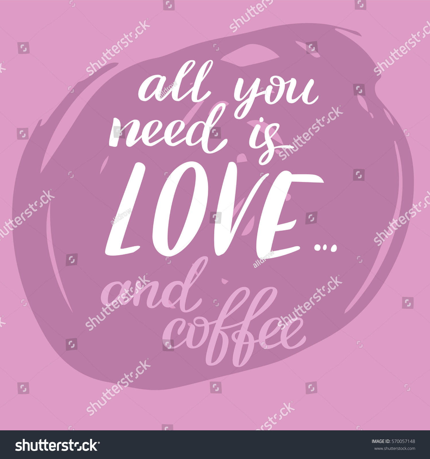 Hand draw lettering in vector texture of brushpen love quotes for valentine day in