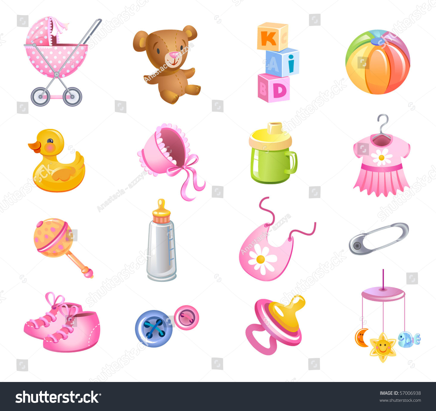 Girl Toys Clip Art : Set of toys and accessories for baby girl stock vector