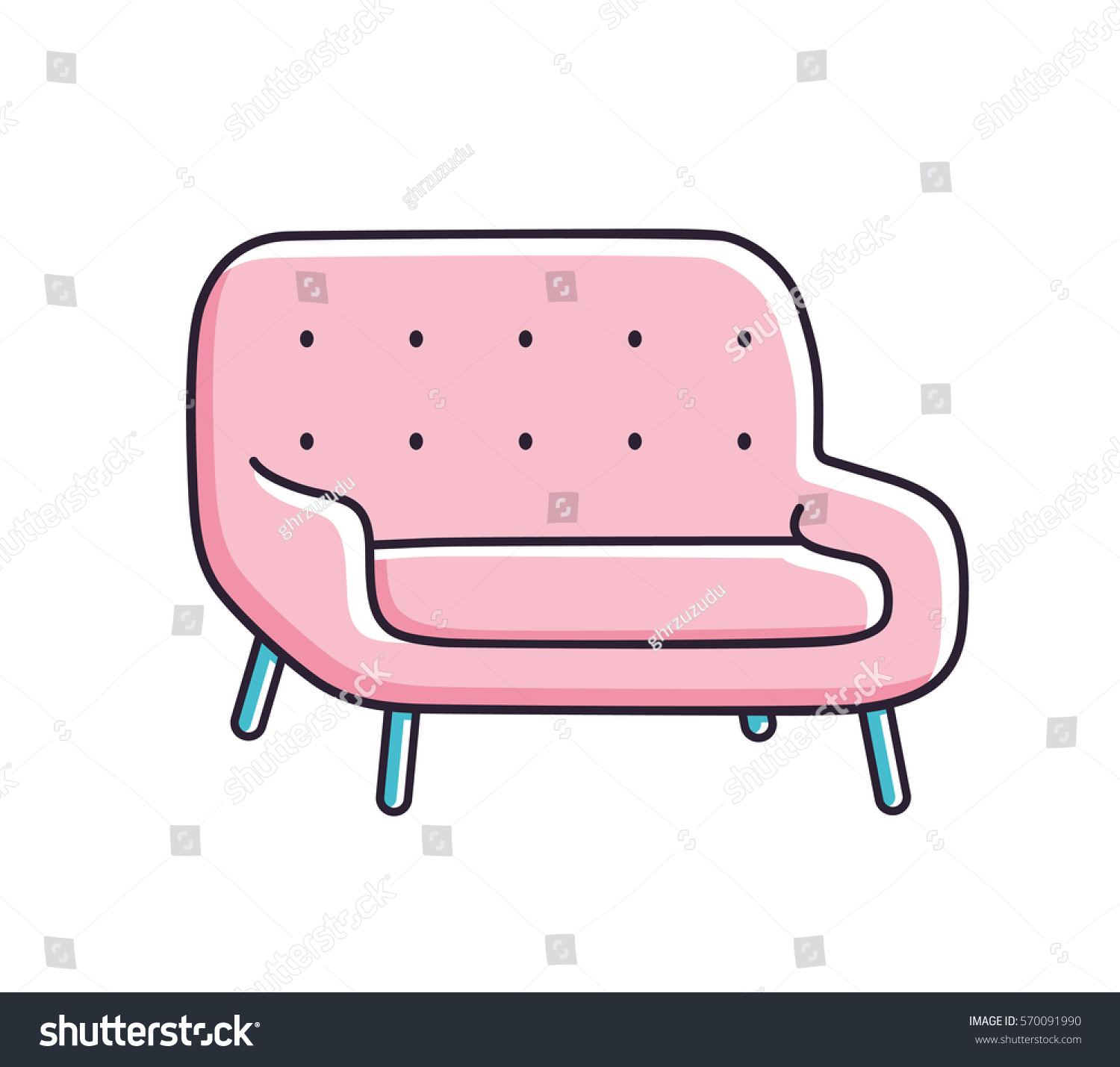 Pink Sofa Vector Isolated Stock Vector Shutterstock