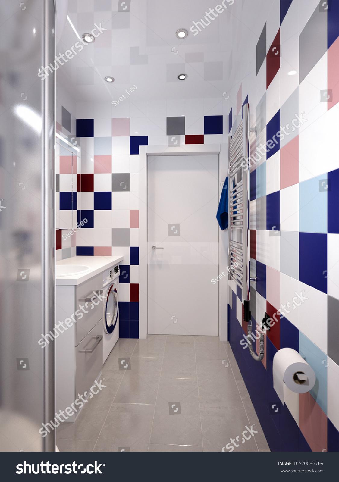 Modern Bathroom Interior White Different Colors Stock Illustration ...