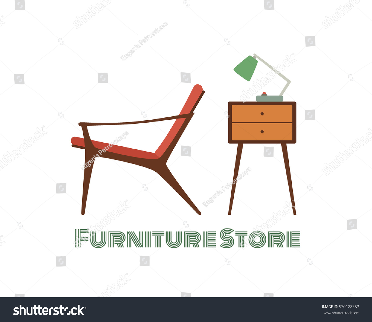 Vector Card Living Room Furniture Midcentury Stock Vector