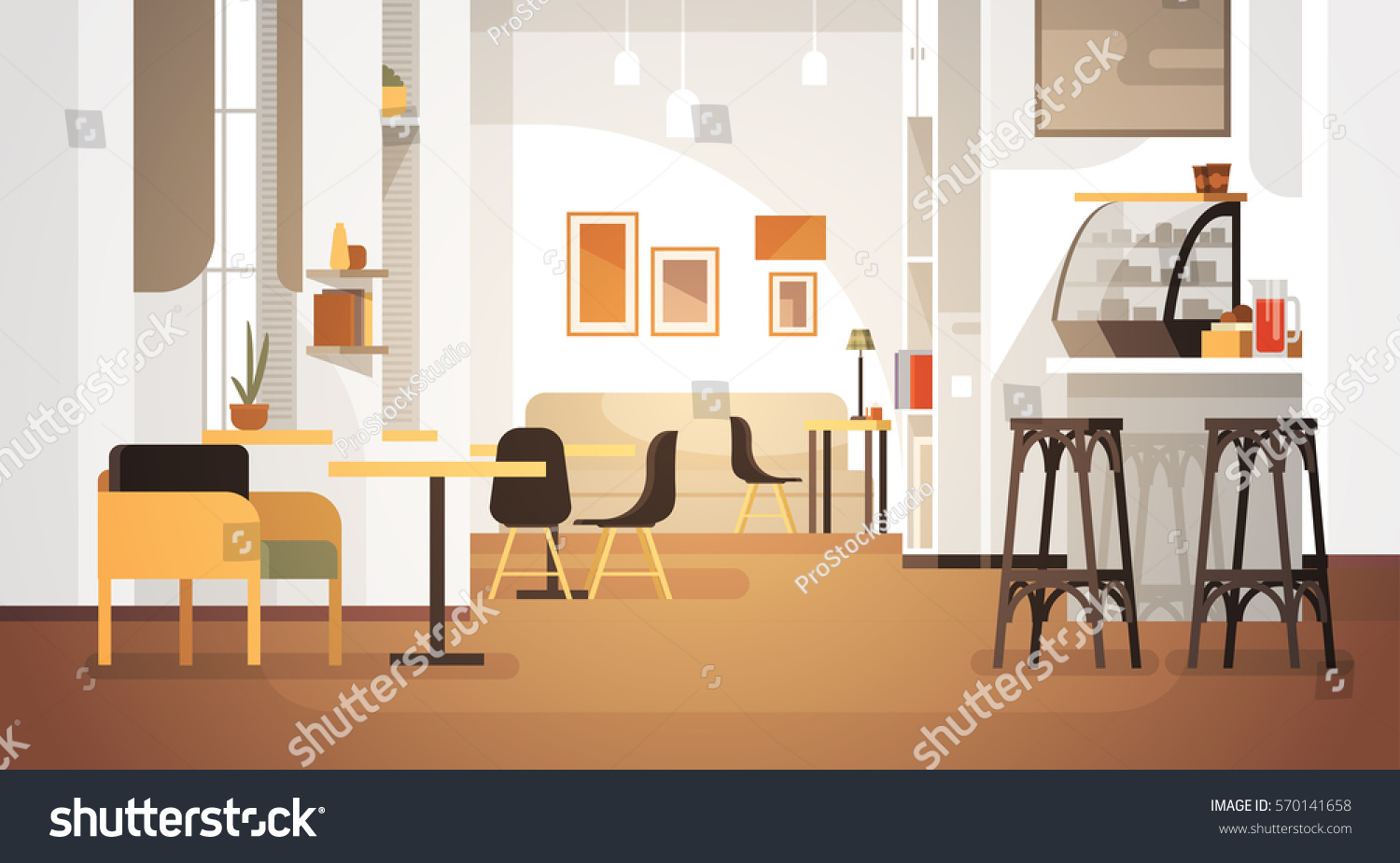 Modern cafe interior empty no people stock vector