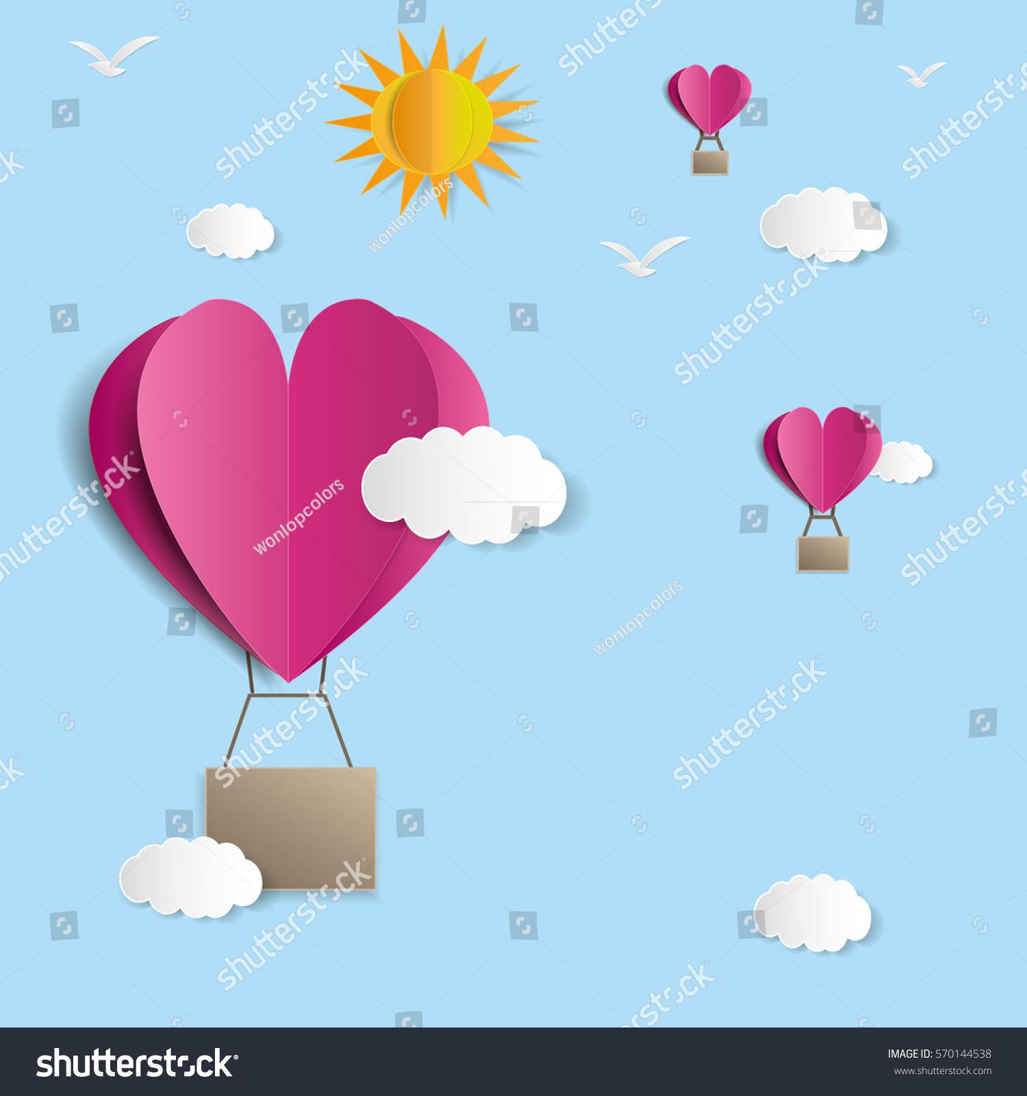 Origami made hot air balloon heart stock vector 570144538 origami made hot air balloon in a heart shape jeuxipadfo Choice Image