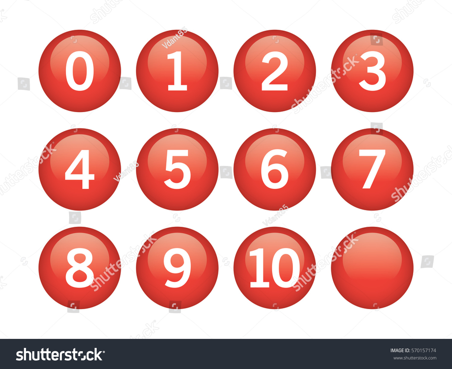 Red circle numbers inside on white stock vector 570157174 red circle with numbers inside on white background buycottarizona Image collections