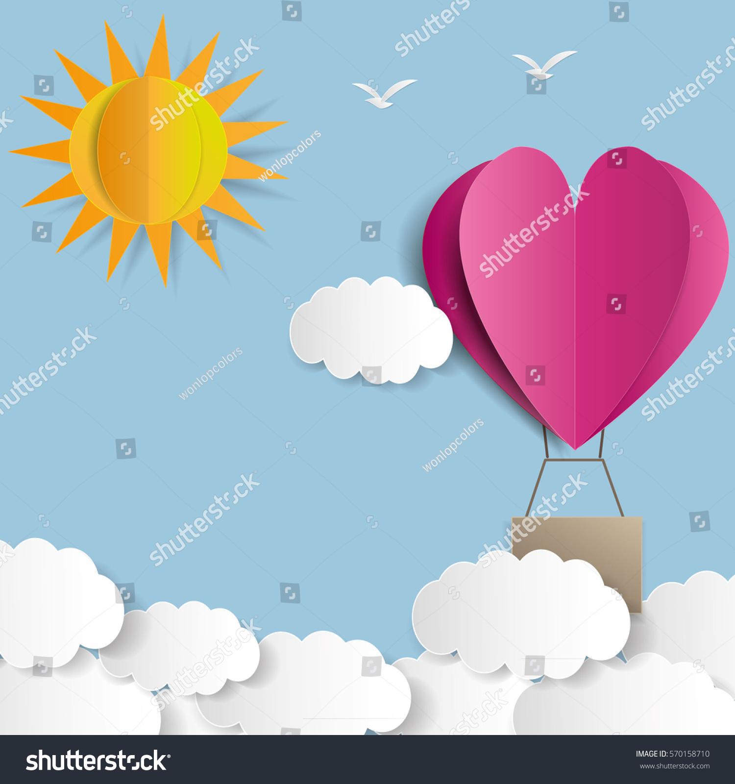 Origami made hot air balloon heart stock vector 570158710 origami made hot air balloon in a heart shape jeuxipadfo Choice Image