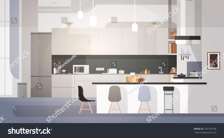 Modern Kitchen Interior Empty No People Stock Vector 570159136 ...
