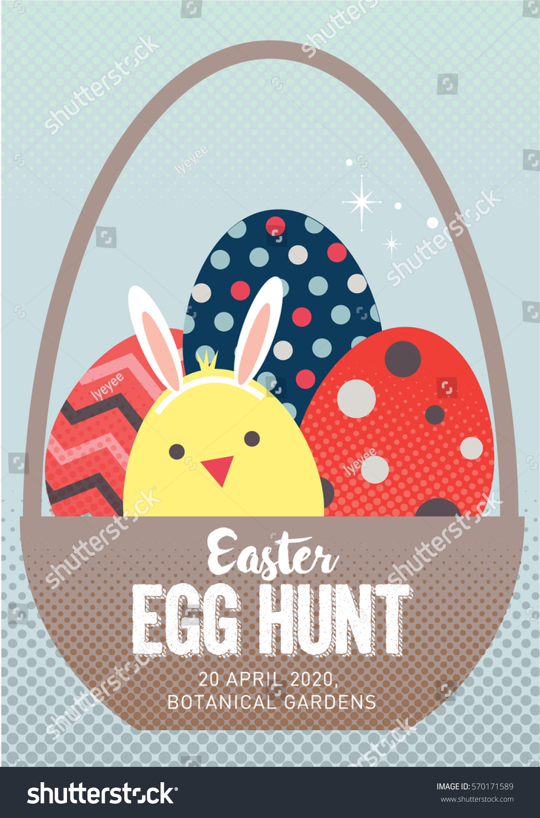 easter egg hunt poster invitation template stock vector 570171589
