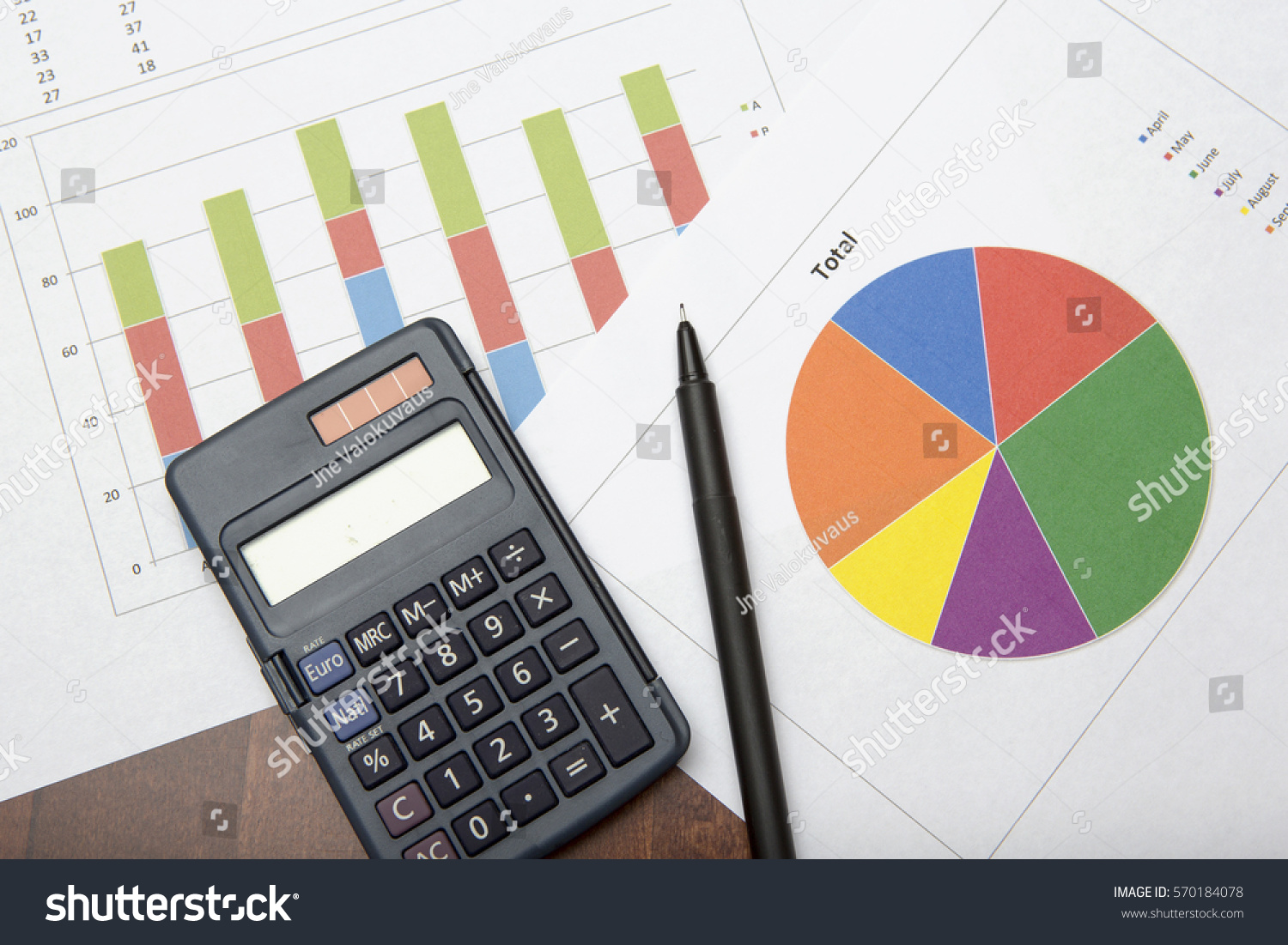 Business concept image pie chart bar stock photo 570184078 pie chart and bar chart for analysis of sales calculator and ccuart Image collections