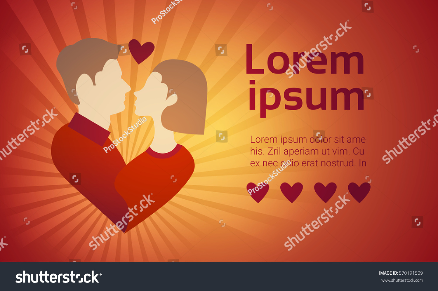 Valentine Day Gift Card Holiday Couple Love Heart Shape Flat Vector  Illustration