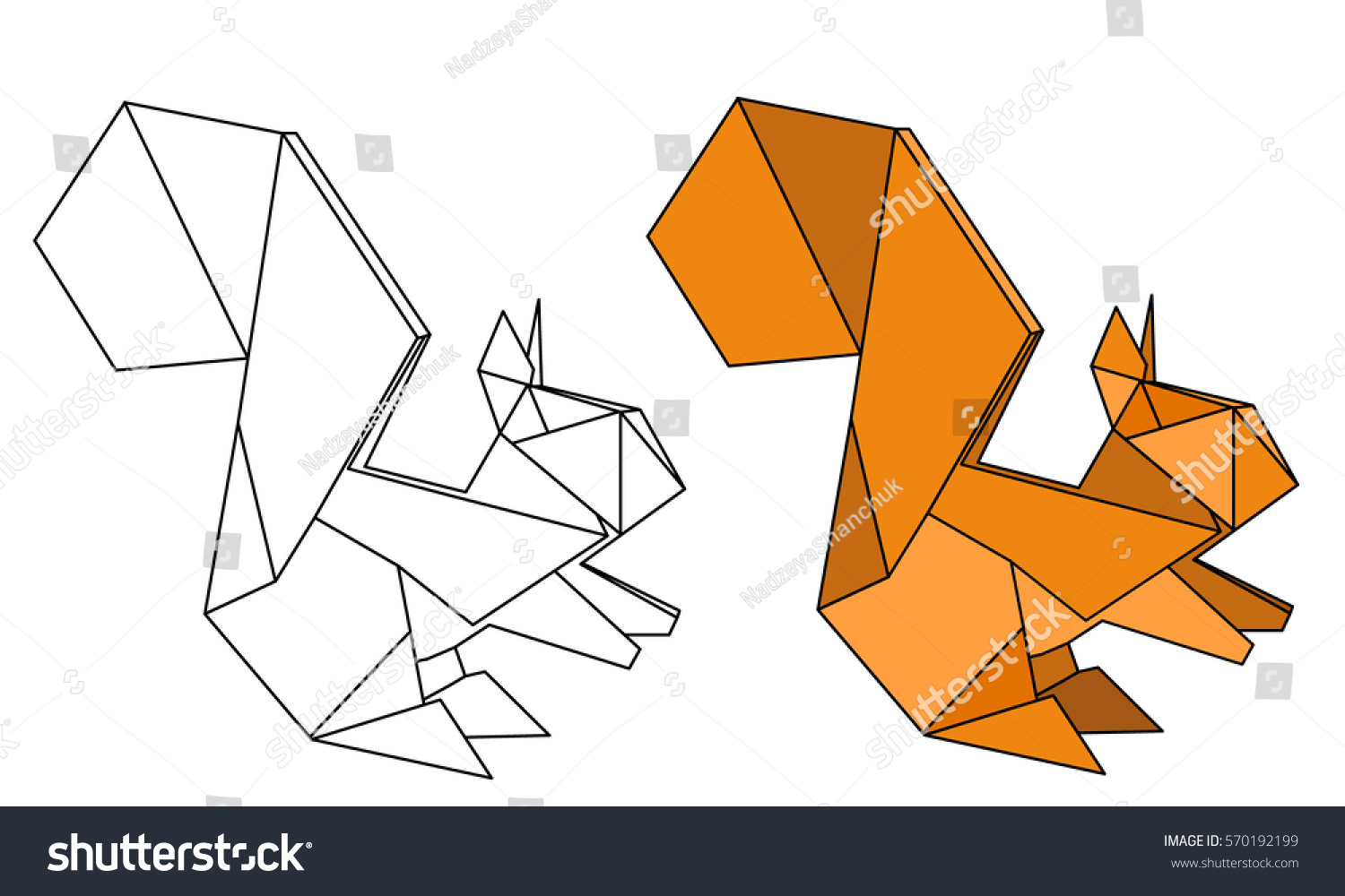 Vector Isolated Origami Squirrel Outline Stock Vector ... - photo#12