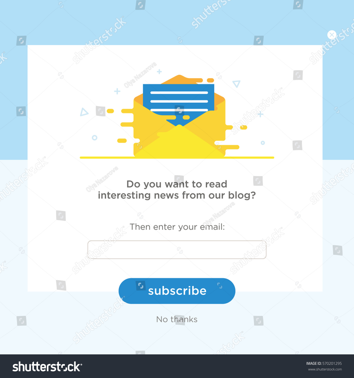 Vector Email Template Envelope Blue Background Stock Vector Royalty