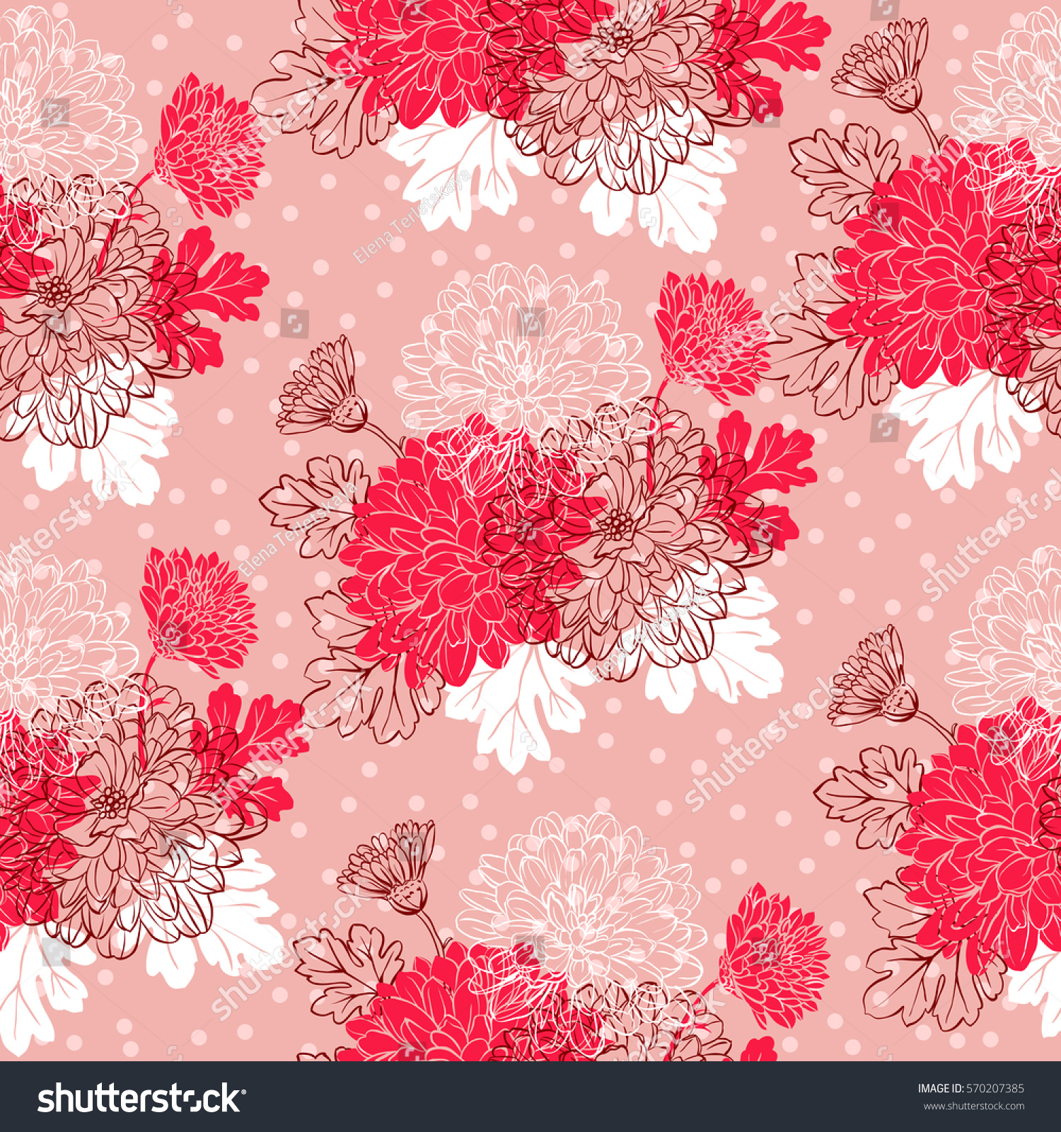 Pink floral seamless vector background floral hrysanthemum seamless - Seamless Pattern With Chrysanthemum Flowers Vector Illustration