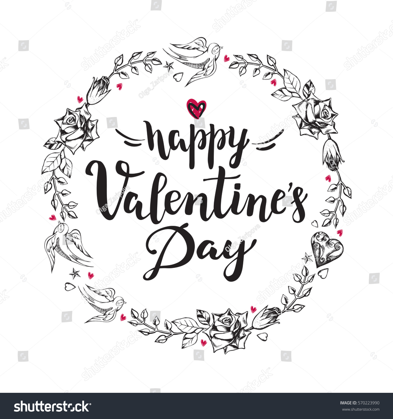 Happy Valentines Day Background Calligraphy Brush Stock Vector