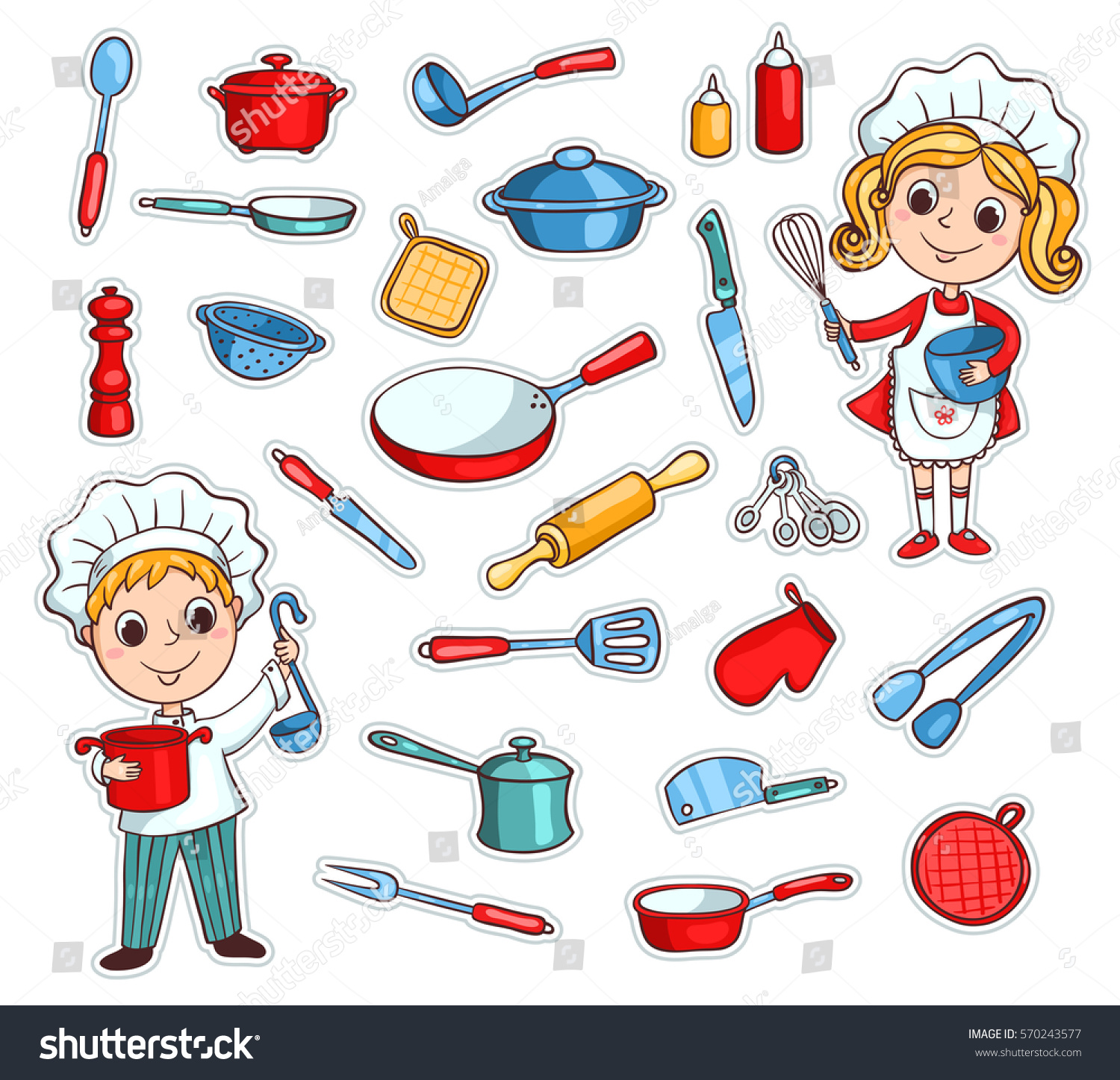 Set Cartoon Kitchen Ware Two Cute Stock Vector 570243577