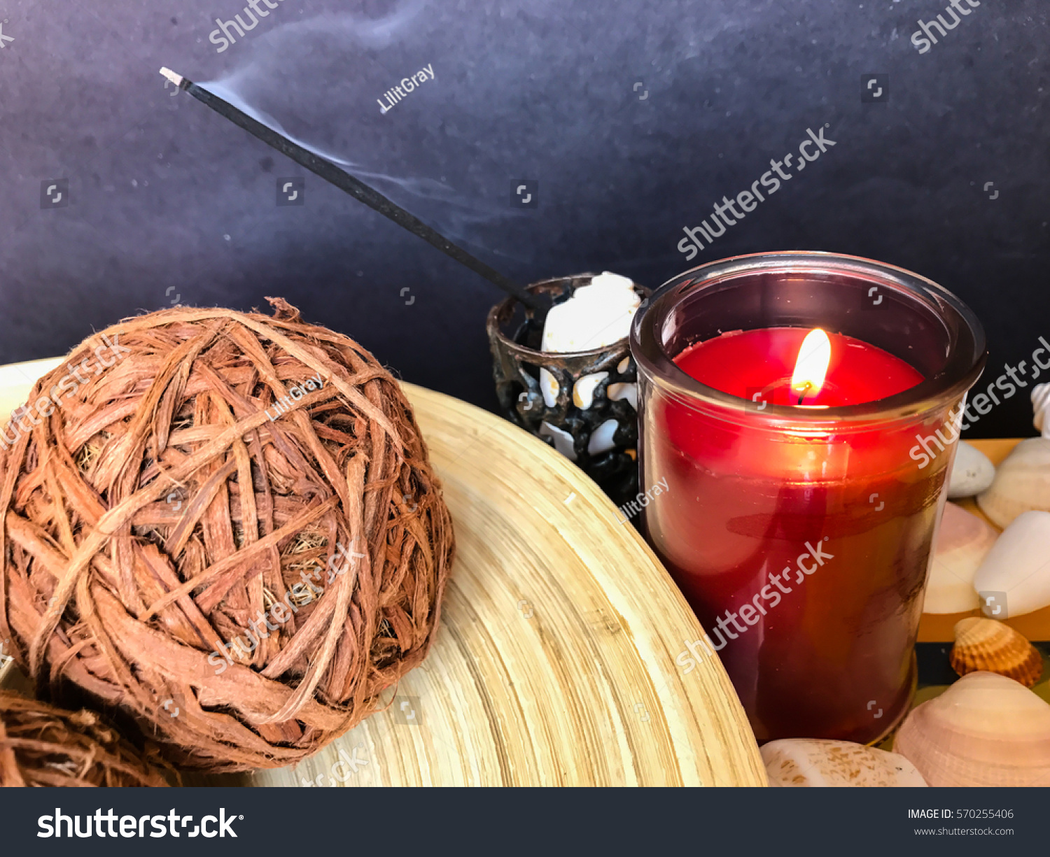 Decorations Relaxation Wallpaper Candle Rattan Balls Holidays Stock Image 570255406