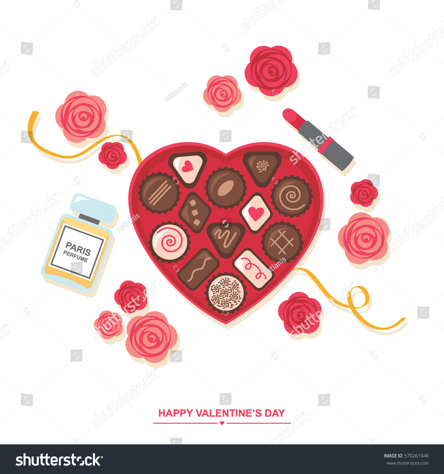 Valentines Day Romantic Gift Chocolates Box Stock Vector Royalty
