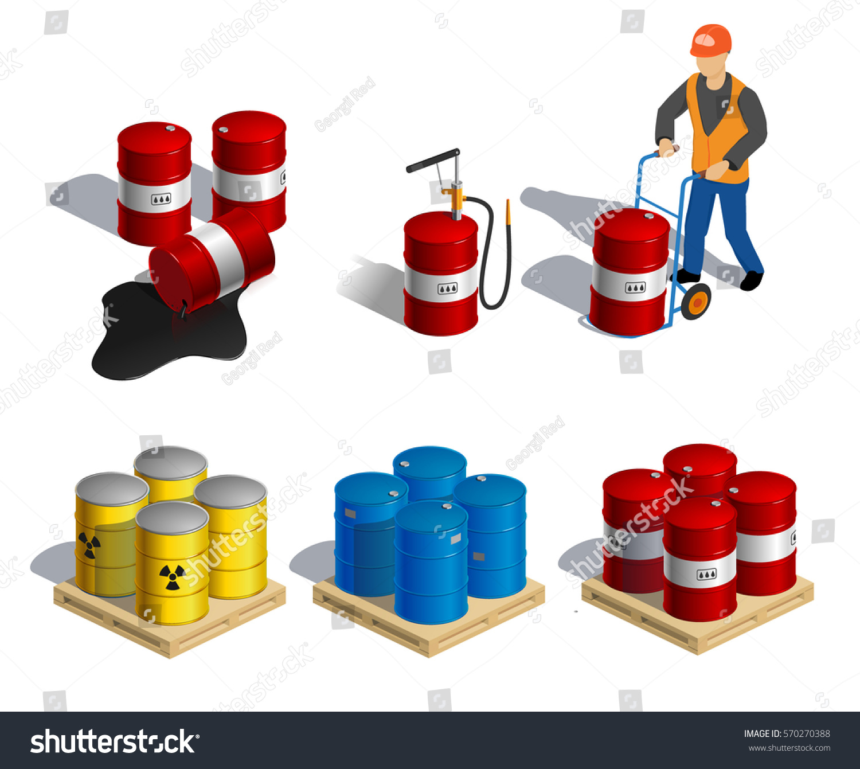 Isometric illustration barrels motor oil hazardous stock for Motor oil by the barrel