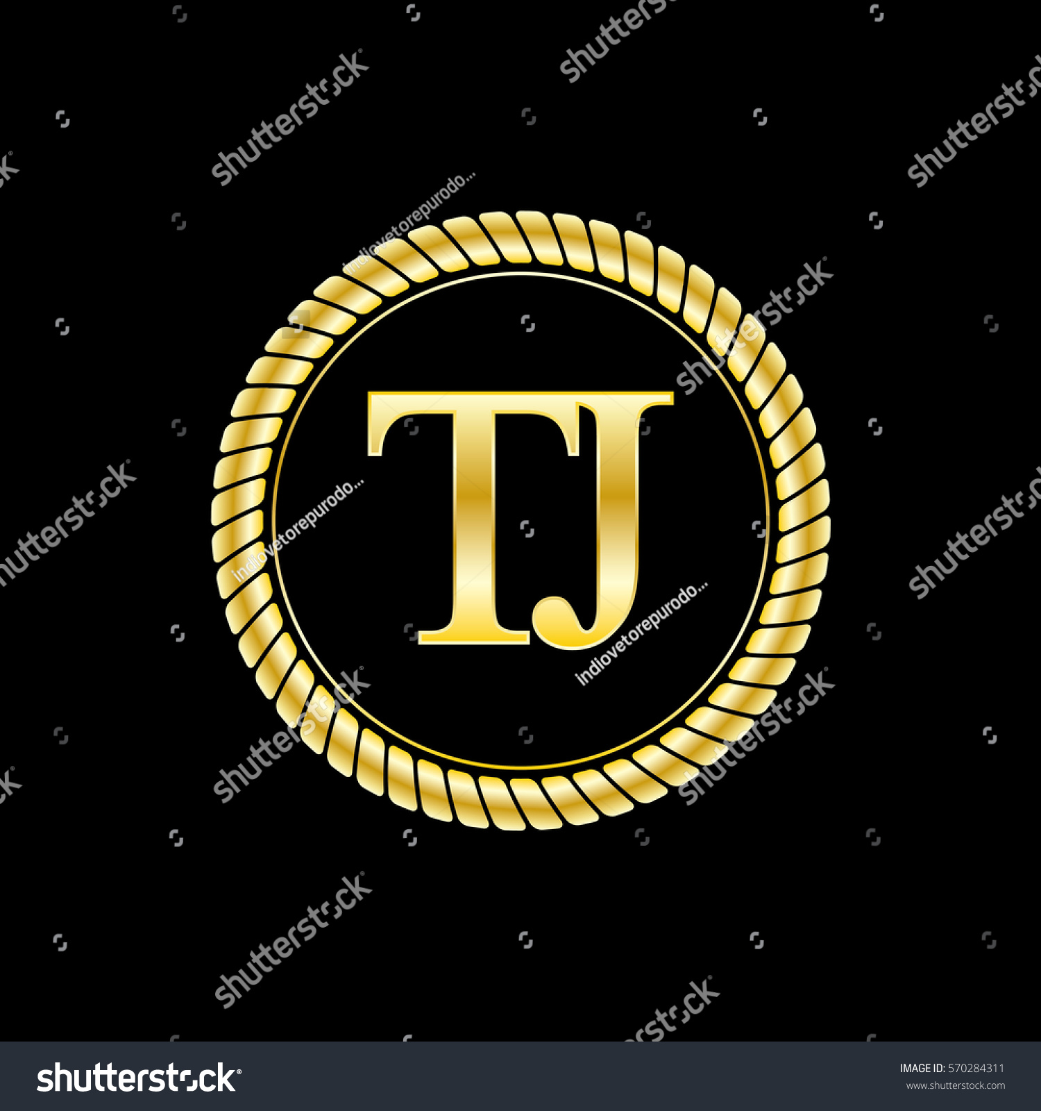 T And J Designs.Initials T J Logo Luxurious Golden Stock Vector Royalty