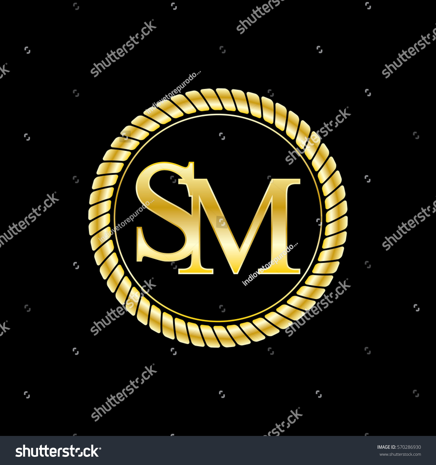 Initials S M Logo Luxurious Golden Stock Vector Royalty Free
