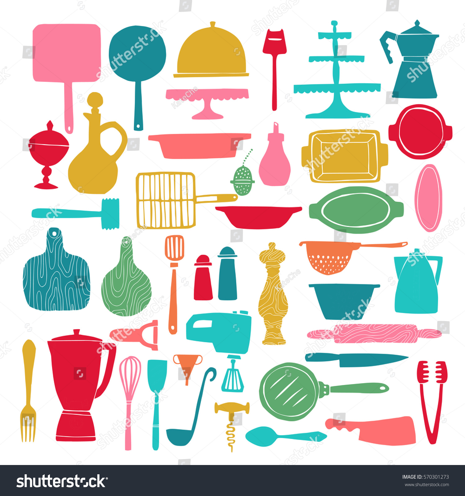 Big set of silhouettes of kitchenware and utensils in hand drawn quirky  trendy style. Isolated