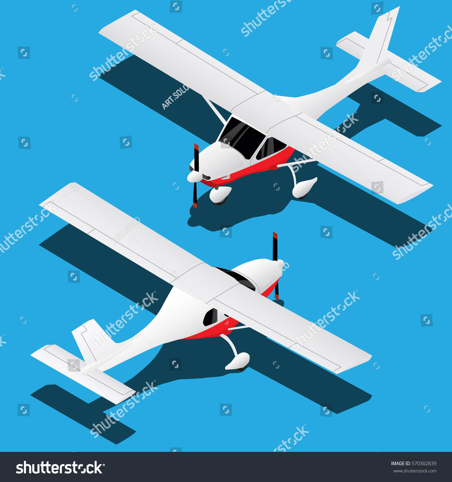 Vector Isometric Private Small Airplane Aircraft Stock