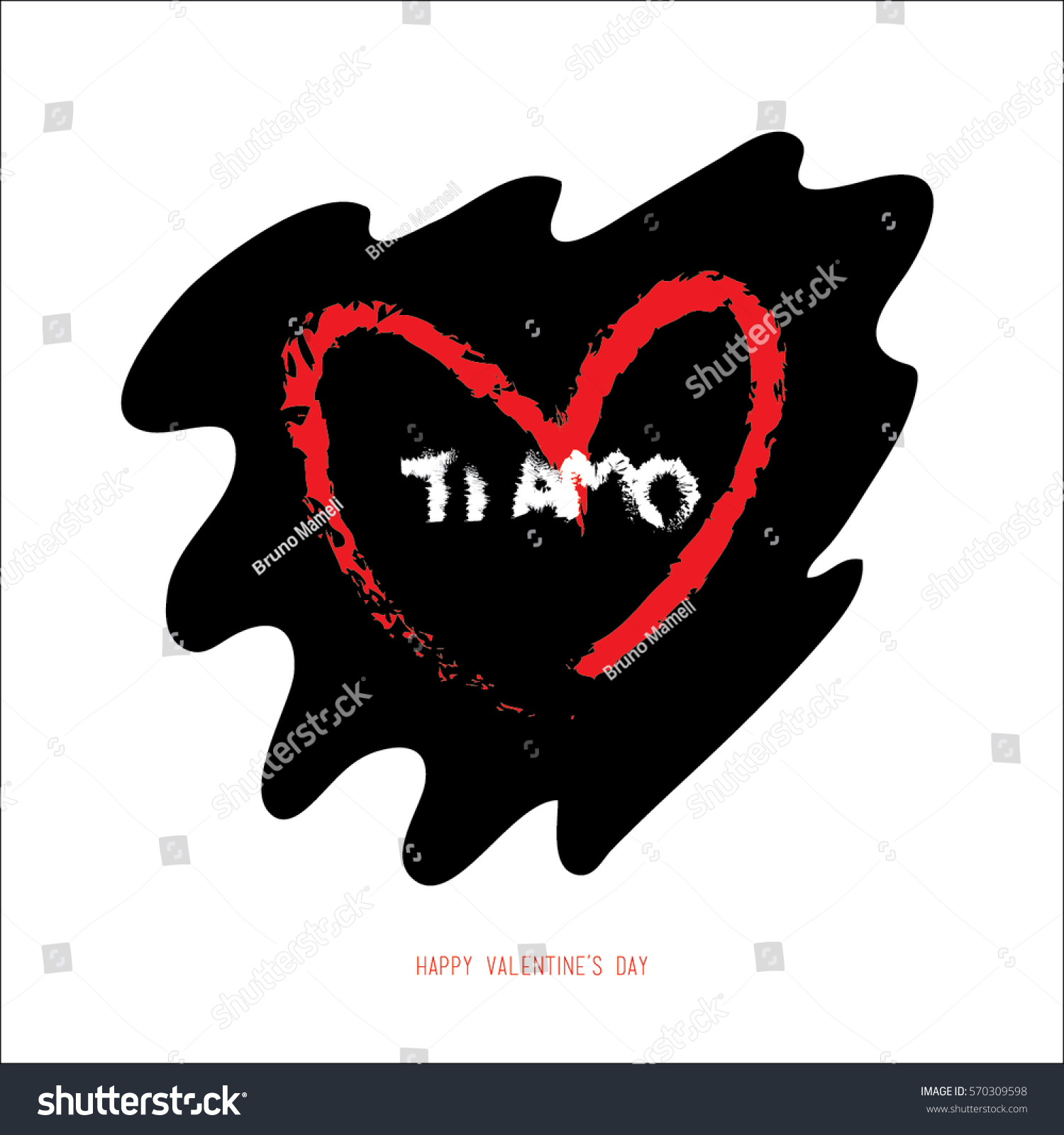 Hand Drawing Valentines Day Romantic Greeting Stock Vector Royalty