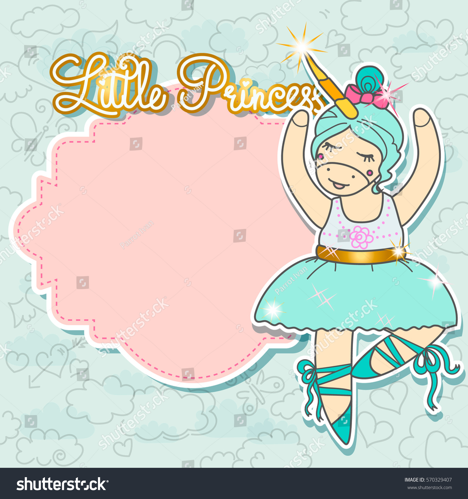 Little Princess Card Template With Blank Space For Text Cute Unicorn Doing Ballet Dance Birthday Party Invitation Vector