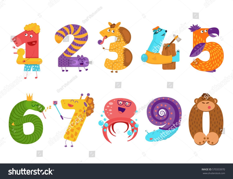 Set Cartoon Animal Numbers Flat Style Stock Vector 570333970 ...
