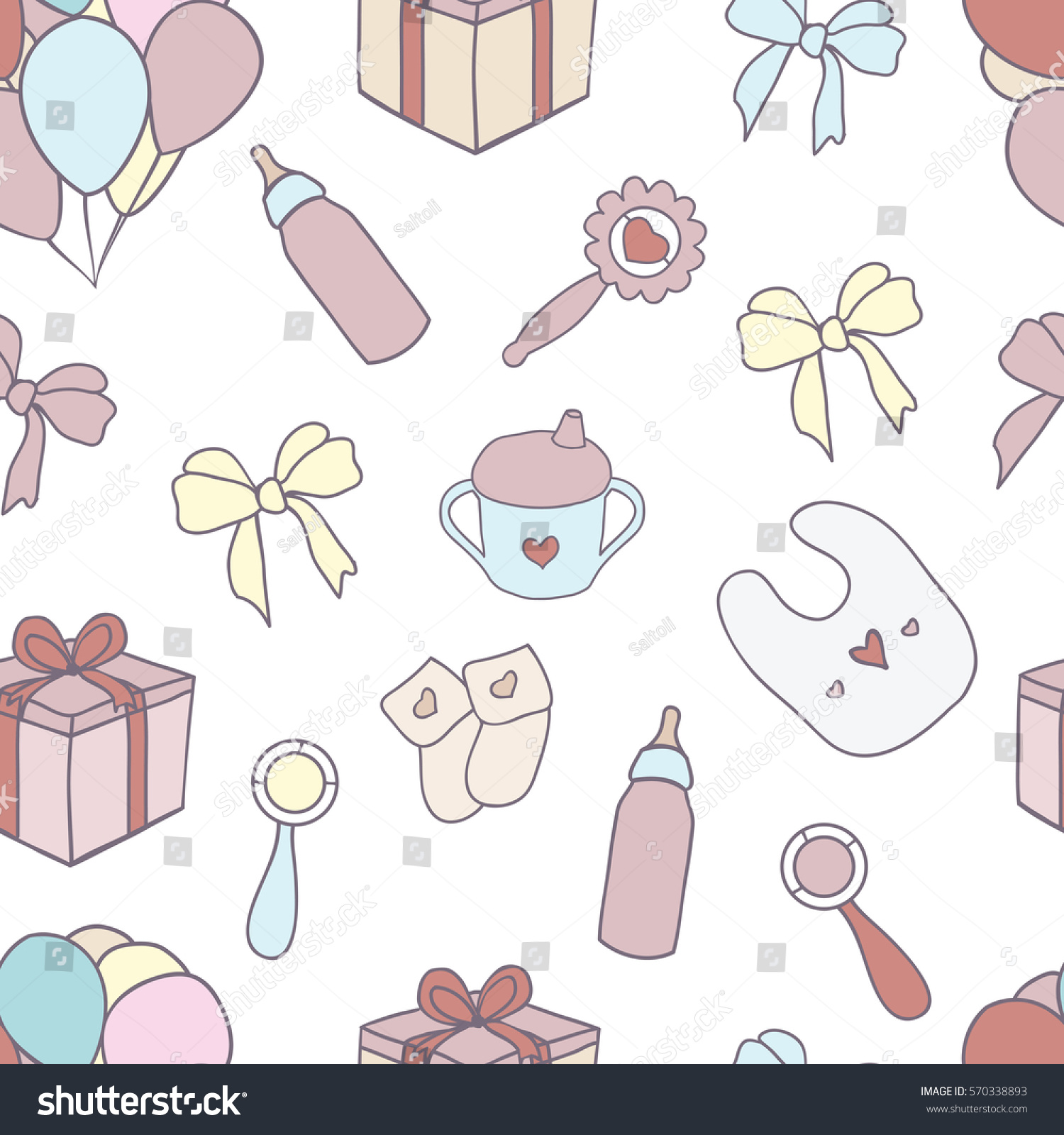 Seamless Pattern Hand Drawn Baby Girl Stock Vector Royalty Free