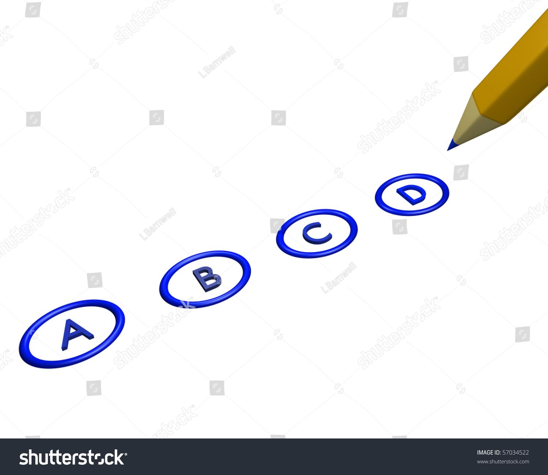 single blue bubble sheet exam showing stock illustration 57034522