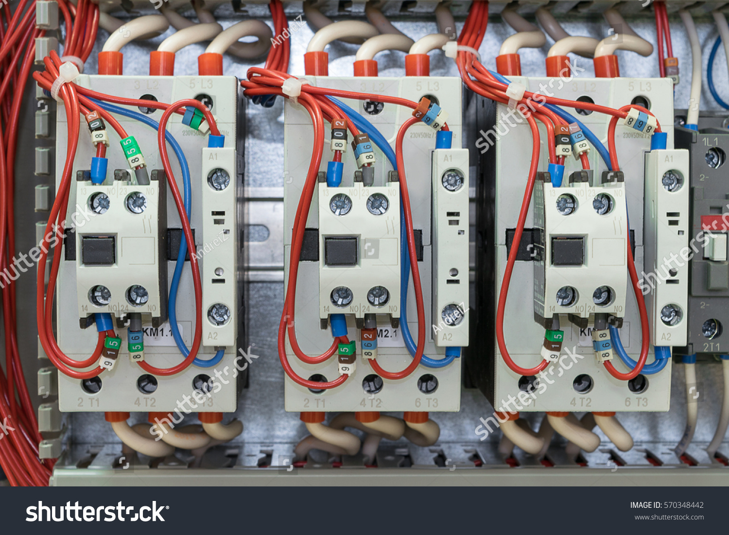 Contactors Front Auxiliary Contacts Mounted On Stock Photo Edit Now Panel Wiring With The Rail Wires Ferrules