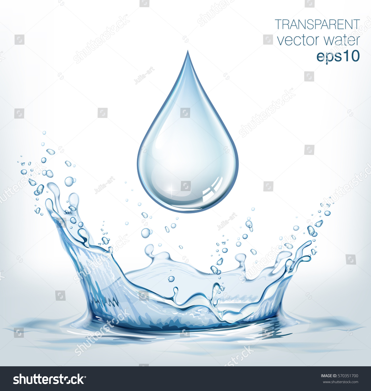 Transparent vector water splash and water drop on light background #570351700