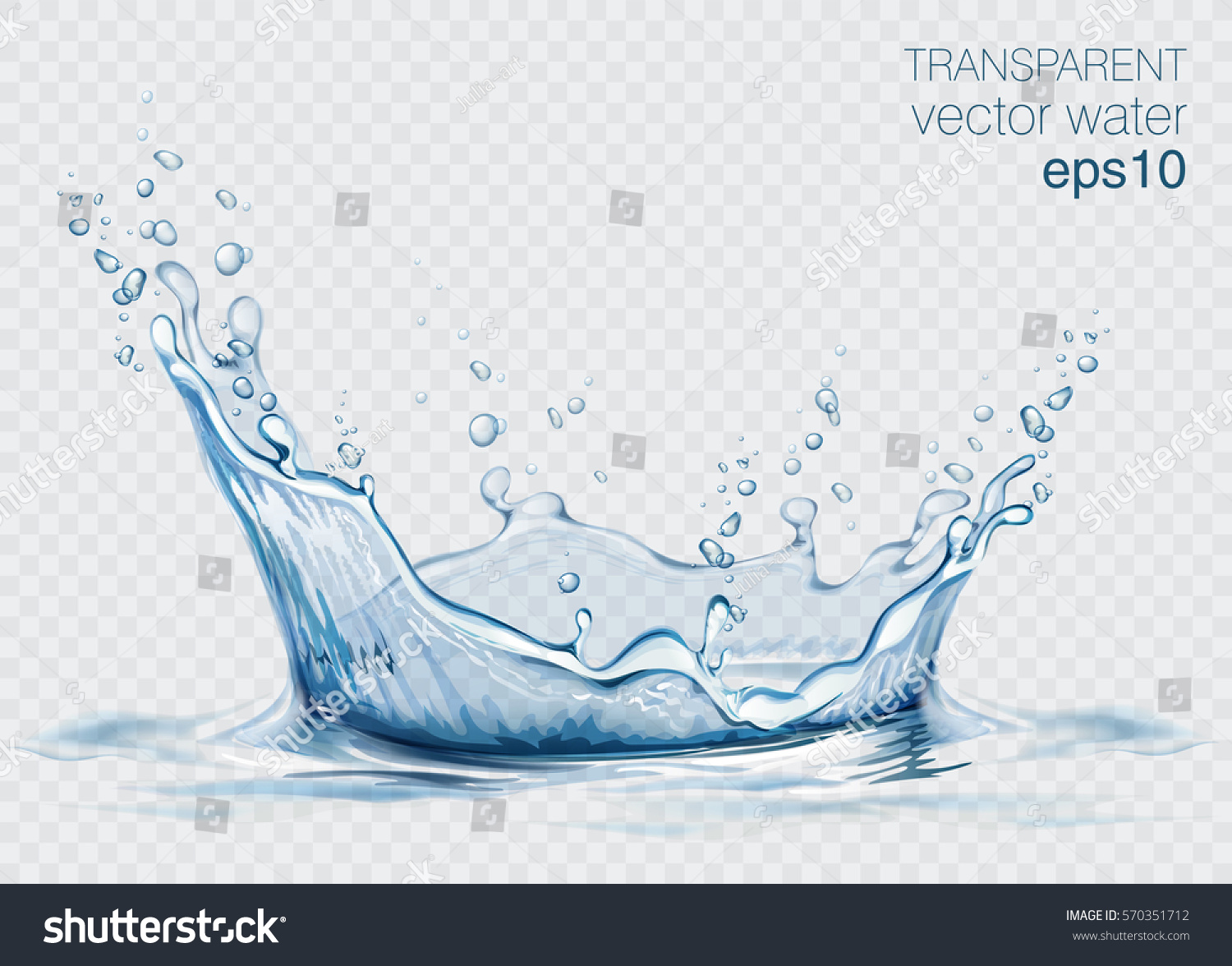 Transparent vector water splash and wave on light background #570351712