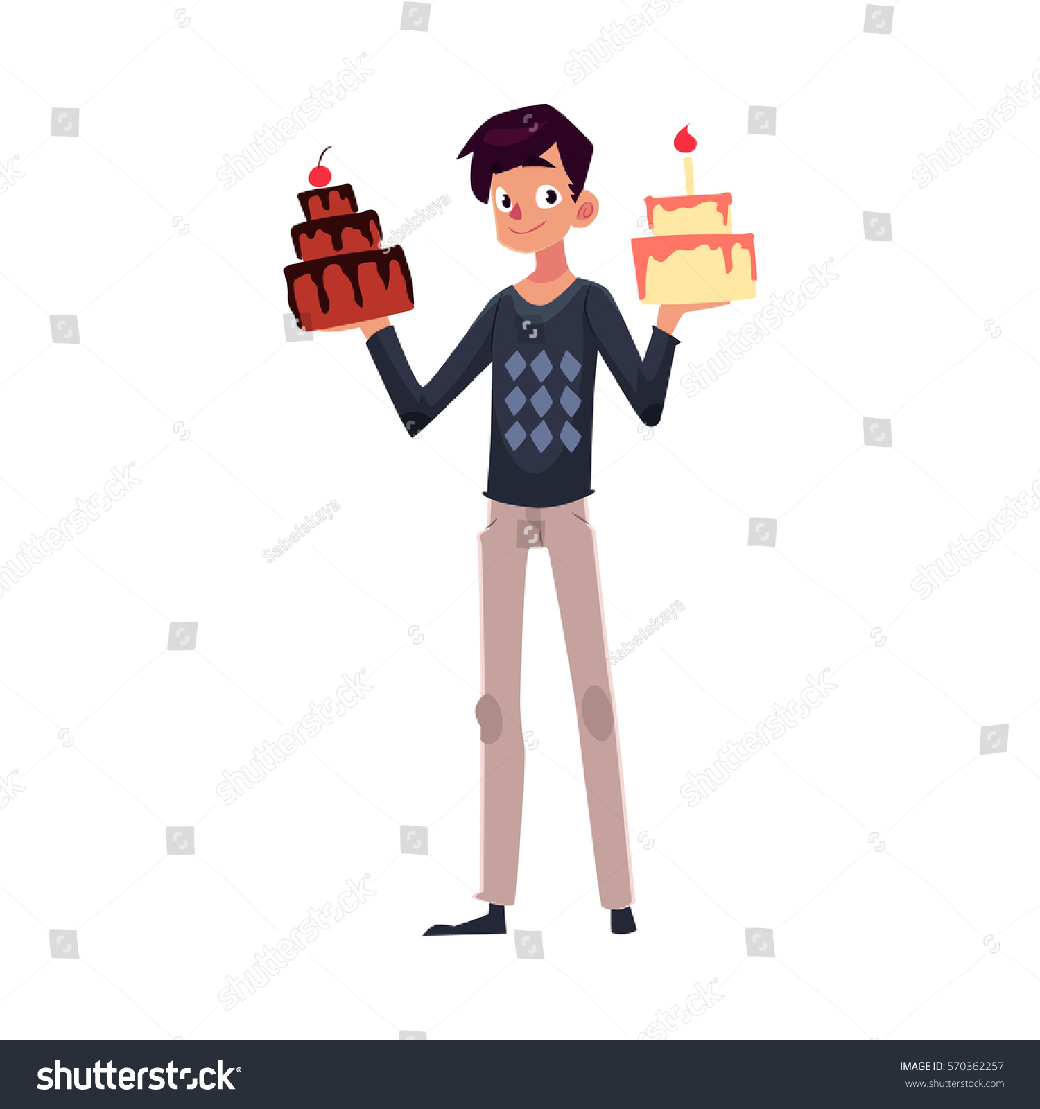 Young Man Holding Birthday Cakes Raised Stock Vector 570362257