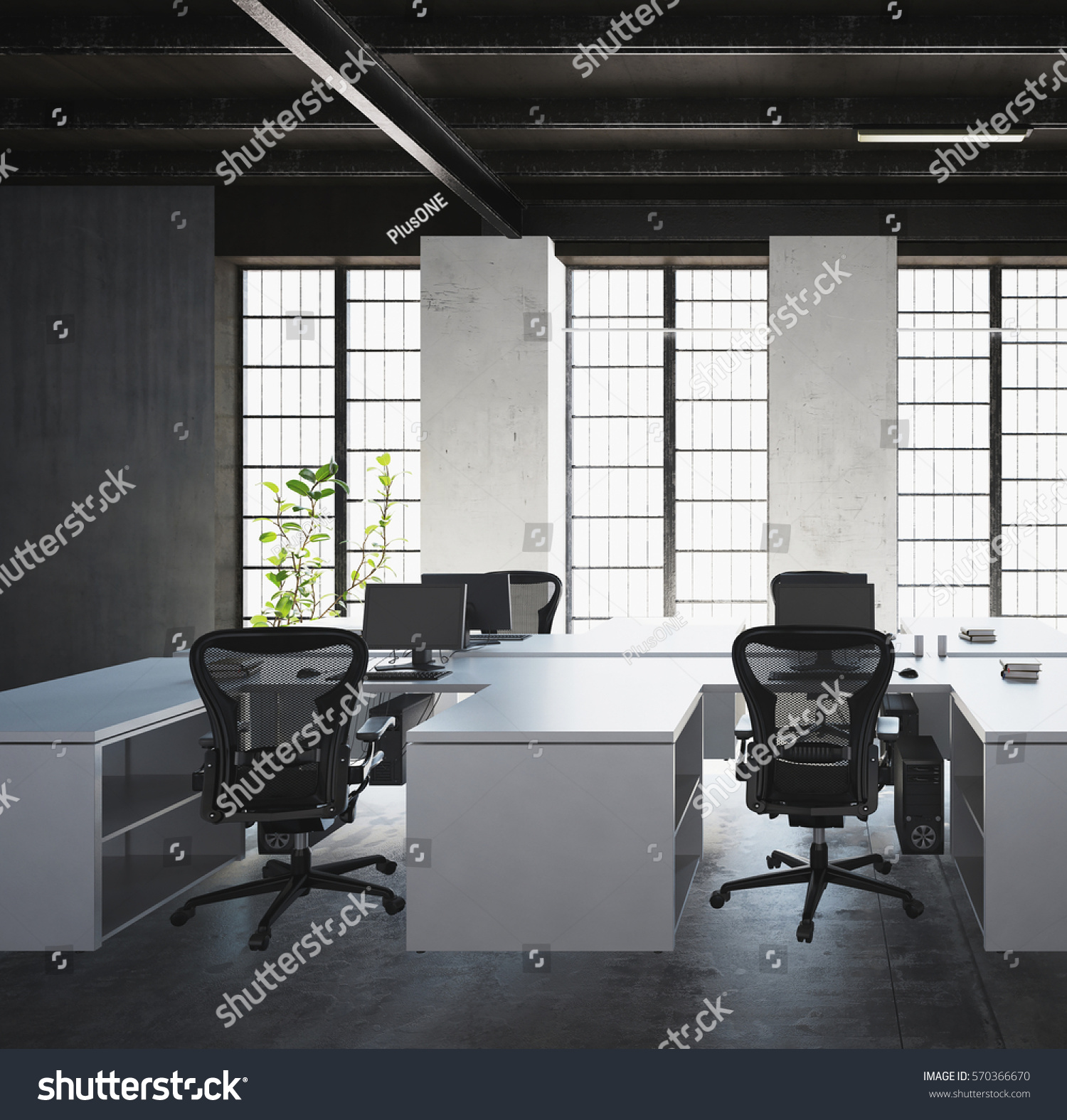 White desks with monitors and plastic armchairs against big light windows  in modern office space interior. White Desks Monitors Plastic Armchairs Against Stock Illustration