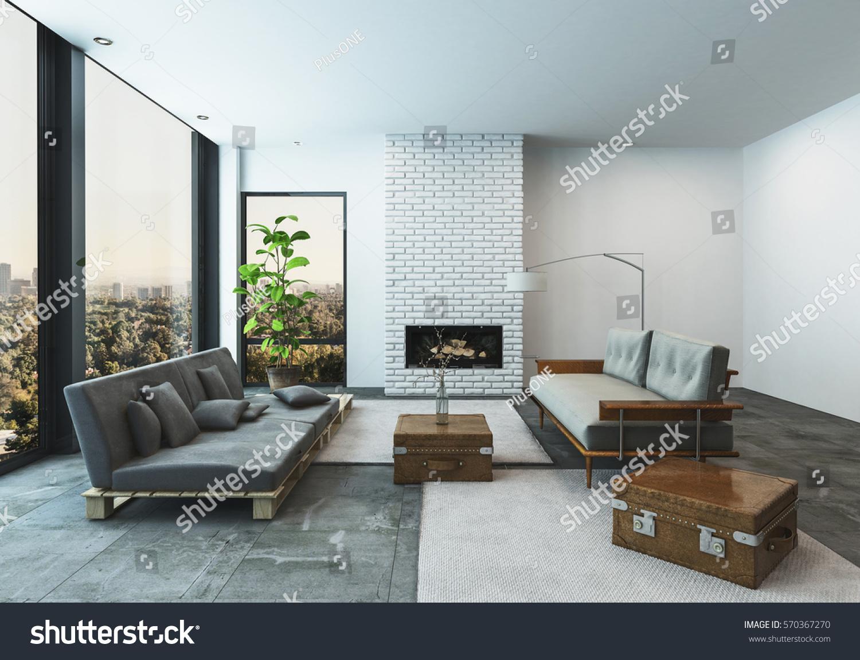 Modern living room condo penthouse apartment stock illustration 570367270 shutterstock - Beautiful room photos ...