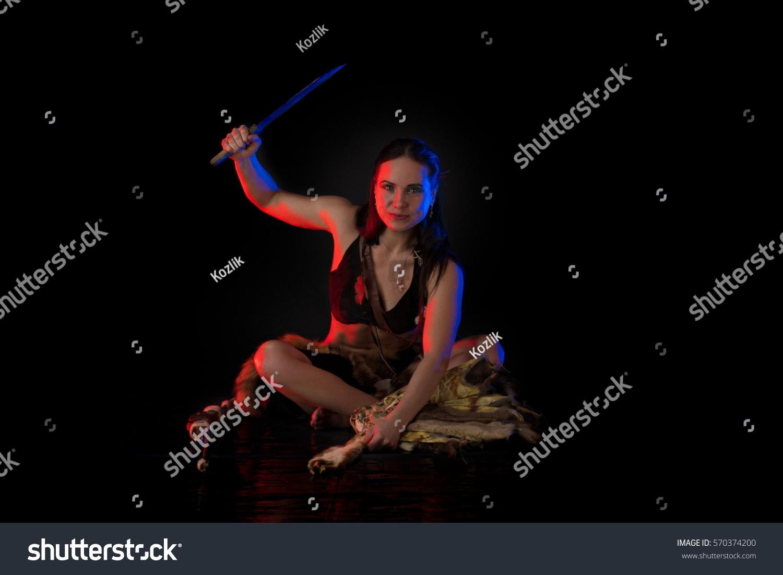 Woman Athlete Amazon Costume Posing On Stock Photo ...