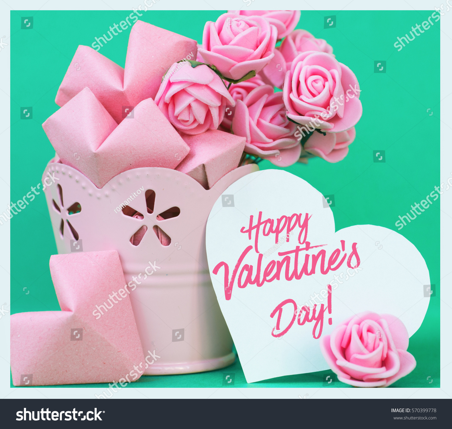Pink Roses Paper Hearts On Color Stock Photo Edit Now 570399778