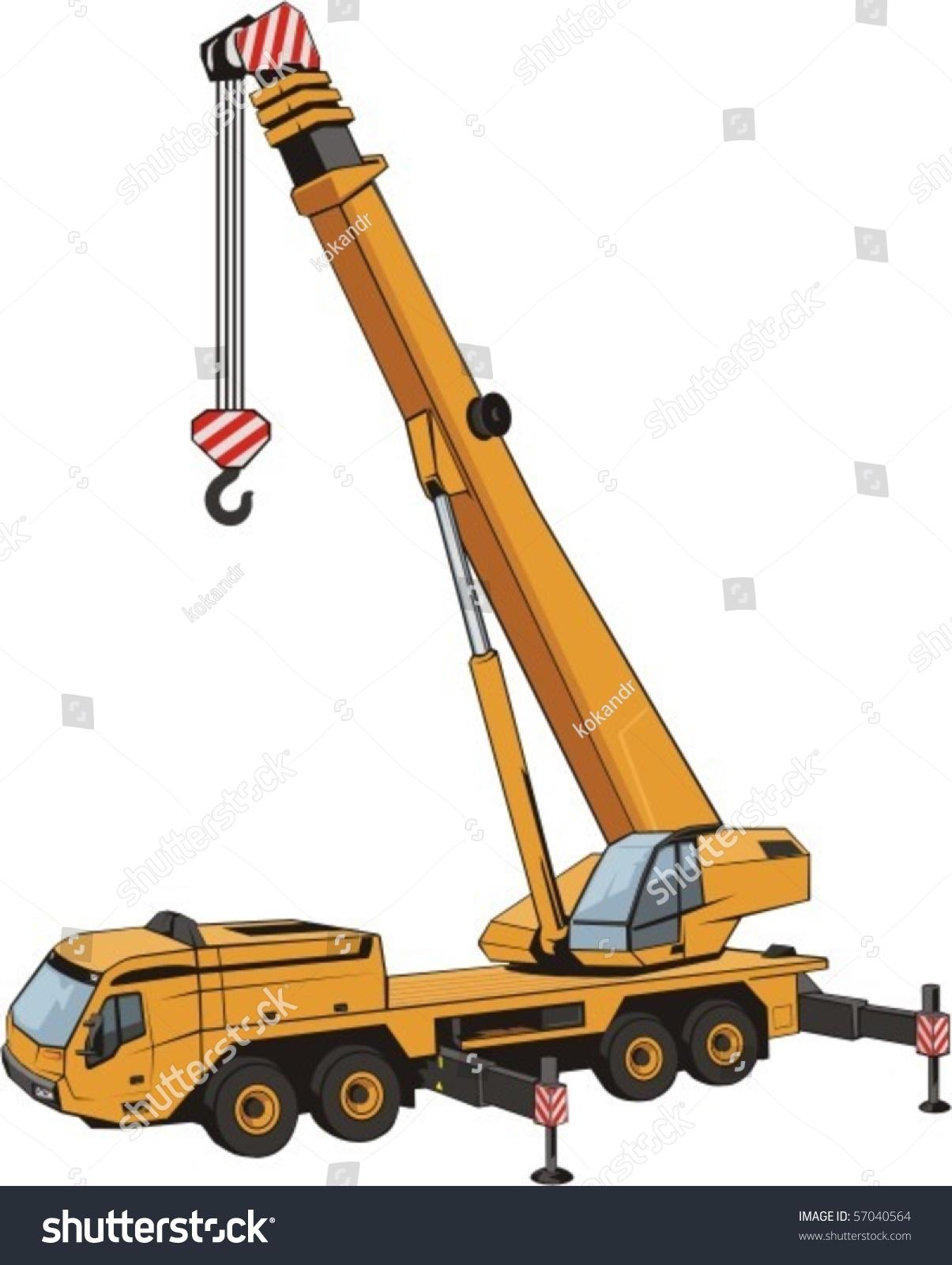 Mobile Crane Terminology : Mobile crane lifted by arrow stock vector