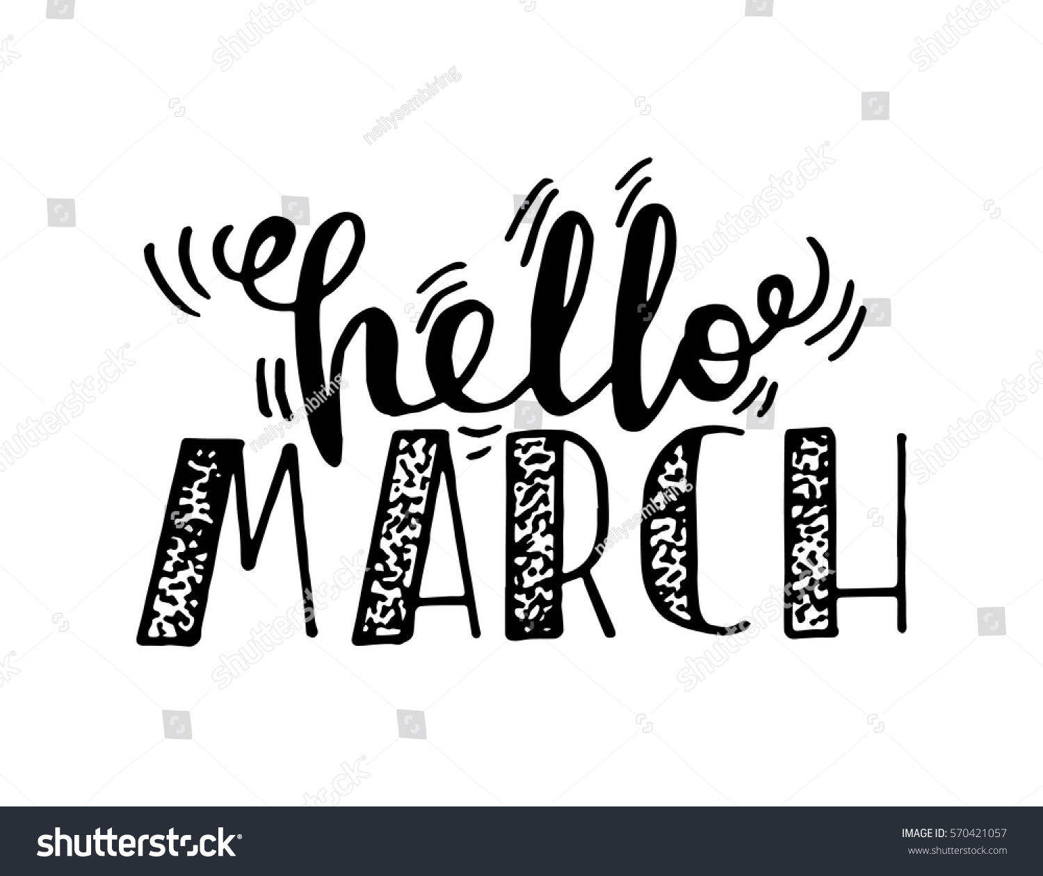 Hello march handwritten lettering modern calligraphy stock