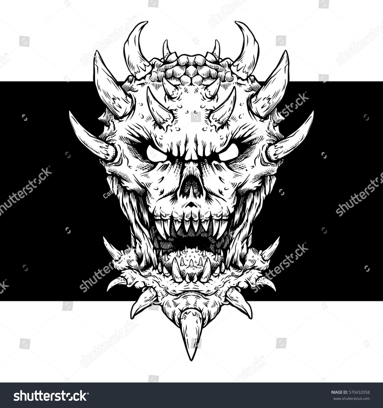 Shirt design ink - Dark Daemon Vector Illustration Ink Line Vector T Shirt Design Illustration Sticker